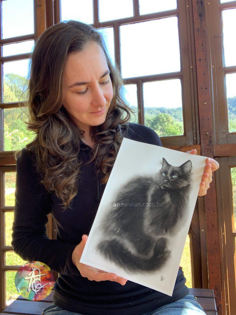 Eu e a aquarela do gato preto