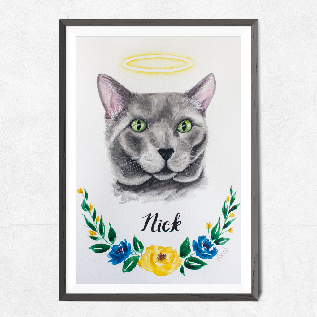 Gato cinzento em aquarela