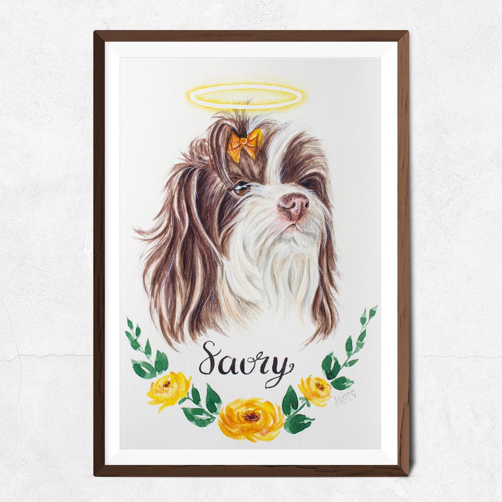 Cachorrinha em aquarela