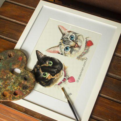 retrato de duas gatinhas em conjunto no tamanho A4