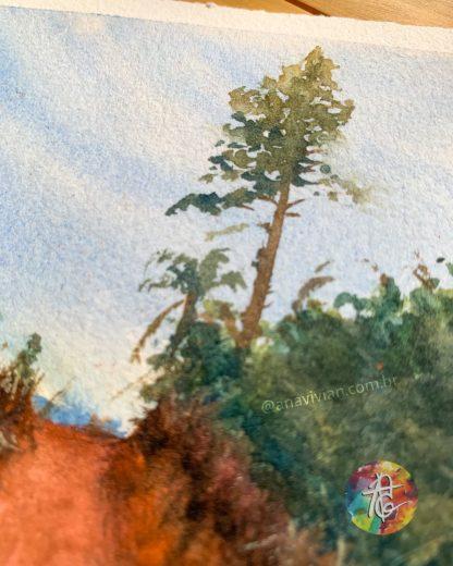 Aquarela Original Pinheiro e Reflexo