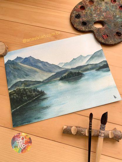 Aquarela Original - Lago Nahuel Huapi