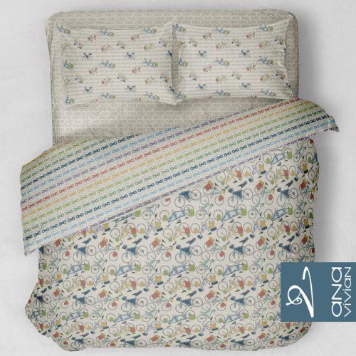 Roupa de cama com coleção de padronagens aplicadas